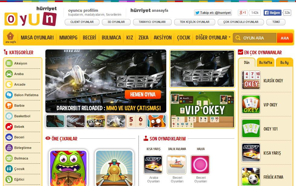 Hürriyet Oyun Sitesi Anasayfası tüm oyunlar